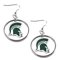 Michigan State University Aminco Floating Logo Hoop Earrings