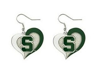 Michigan State University Aminco Swirl Heart Dangle Earrings