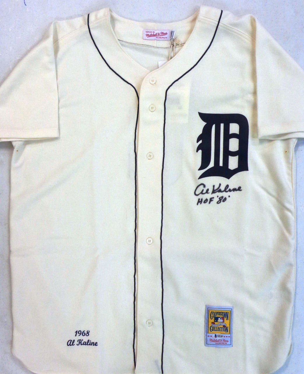 finest selection a9c07 9a6f1 Al Kaline Autographed Detroit Tigers 1968 Home Mitchell & Ness Jersey with