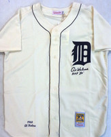 "Al Kaline Autographed Detroit Tigers 1968 Home Mitchell & Ness Jersey with ""HOF 80"" Inscription"