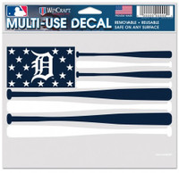 """Detroit Tigers Wincraft Bats American Flag Multi-Use Decal - Clear Background 5""""x 6"""""""