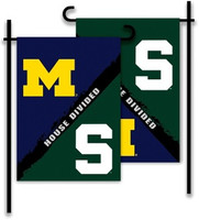 University of Michigan/Michigan State University BSI Products House Divided Garden Flag