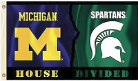 University of Michigan/Michigan State University BSI Products House Divided 3'x5' Flag