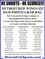 He Shoots - He Scores!!! Autographed Detroit Red Wings Mystery 8x10 Photo Grab Bag