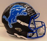 Calvin Johnson Autographed Detroit Lions Replica Black Matte Full Size Helmet with 6 Inscriptions