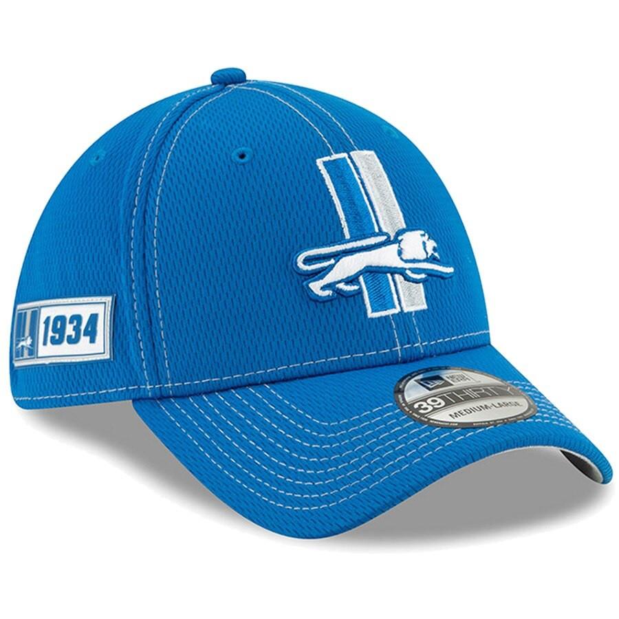2476bb72 Detroit Lions New Era 2019 NFL Sideline Road Official Historic Logo  39THIRTY Flex Hat – Blue
