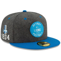 Detroit Lions Men's New Era Heather Charcoal/Blue 2019 NFL Sideline Home Official Historic Logo 59FIFTY 1930s Fitted Hat