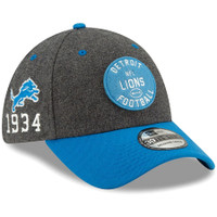 Detroit Lions Men's New Era Heather Charcoal/Blue 2019 NFL Sideline Home Official 39THIRTY 1930s Flex Hat