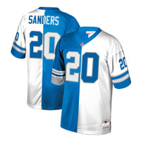 Detroit Lions Men's Barry Sanders Mitchell & Ness Blue/White Retired Player Split Replica Jersey