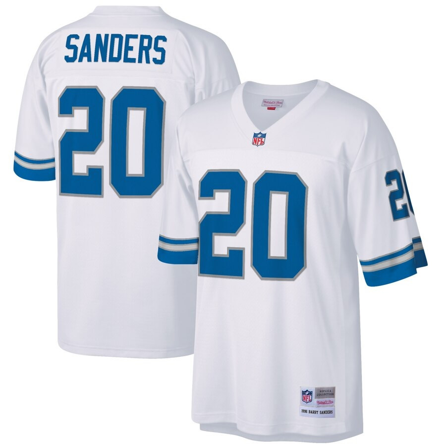 huge sale 2878d 3966a Detroit Lions Men's Barry Sanders Mitchell & Ness White Retired Player  Legacy Replica Jersey