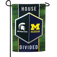 Michigan/Michigan State Team Sports America House Divided Garden Flag - 13 x 18 Inches
