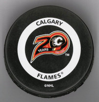 Mike Vernon Autographed Calgary 20 Years Game Puck (Pre-Order)