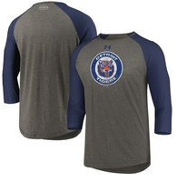 Detroit Tigers Men's Under Armour 3/4-Sleeve Raglan Tri-Blend T-Shirt - Heathered Gray/Navy