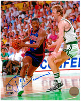 Joe Dumars Autographed Detroit Pistons 8x10 Photo #1 - with Larry Bird