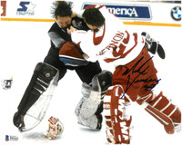 Mike Vernon Autographed Detroit Red Wings 8x10 Photo #2 - Vernon vs. Roy