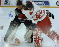 Mike Vernon Autographed Detroit Red Wings 16x20 Photo #1 - Vernon vs. Roy