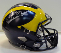 "Lloyd Carr Autographed Michigan Wolverines Deluxe Replica Speed Helmet with ""97 National Champs"" Inscription"