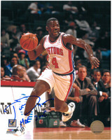Joe Dumars Autographed Detroit Pistons 8x10 Photo #3 - Dribbling (HOF 2006 Inscription)