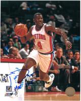 Joe Dumars Autographed Detroit Pistons 8x10 Photo #3 - Dribbling (HOF 2006 Inscription)