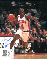 Joe Dumars Autographed Detroit Pistons 16x20 Photo #3 - Dribbling (HOF 2006 Inscription)