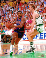 Joe Dumars Autographed Detroit Pistons 16x20 Photo #1 - with Larry Bird (HOF 2006 Inscription)