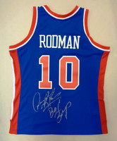 "Dennis Rodman Autographed Mitchell & Ness Detroit Pistons Blue 1988-89 Jersey w/""Bad Boys"" Inscription"