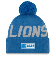 Men's New Era Blue Detroit Lions 2019 NFL Sideline Road Official Sport Knit Hat