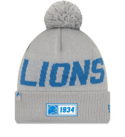 Men's New Era Silver Detroit Lions 2019 NFL Sideline Road Reverse Sport Knit Hat