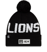 Men's New Era Black Detroit Lions 2019 NFL Sideline Road Sport Knit Hat