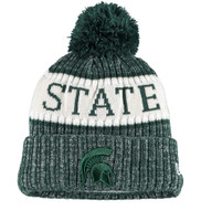 Men's New Era Green Michigan State Spartans Sport Knit Hat with Pom