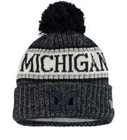 Men's New Era Navy Michigan Wolverines Team Logo Sport Cuffed Knit Hat with Pom