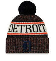 Detroit Tigers New Era Primary Logo Sport Cuffed Knit Hat with Pom - Navy