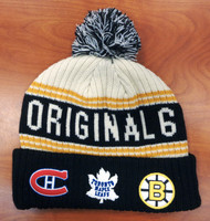 Original Six Hockey Fanatics Thick Knit Cuffed Hat with Pom
