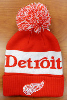 Detroit Red Wings Adidas Cuffed Knit Hat with Pom