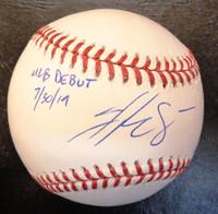 "Jake Rogers Autographed Baseball - Official Major League Ball w/""MLB Debut 7/30/19"" Inscription"