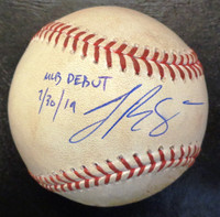 """Jake Rogers Autographed Game Used Baseball - Official Major League Ball w/""""MLB Debut 7/30/19"""" Inscription"""