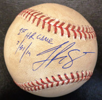 """Jake Rogers Autographed Game Used Baseball - Official Major League Ball w/""""1st HR Game 7/31/19"""" Inscription"""