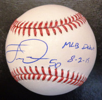 "Travis Demeritte Autographed Baseball - Official Major League Ball w/""MLB Debut 8/2/19"" Inscription"