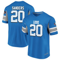 Detroit Lions Men's NFL Pro Line by Fanatics Barry Sanders Blue Hall of Fame Hashmark Retired Player Name & Number V-Neck Top