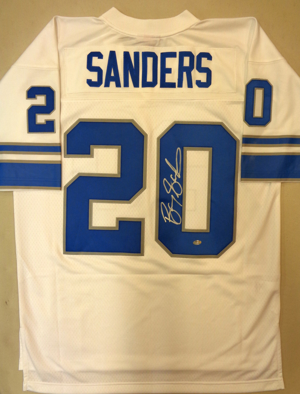 Barry Sanders Autographed Detroit Lions Jersey - White Mitchell & Ness