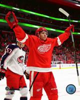Dennis Cholowski Autographed Detroit Red Wings 8x10 #1 - 1st NHL Goal Celebration (Pre-Order)