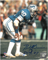 "Billy Sims Autographed Detroit Lions 8x10 Photo #2 w/ ""80 ROY"" Inscription"