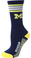 University of Michigan For Bare Feet Four Stripe Socks