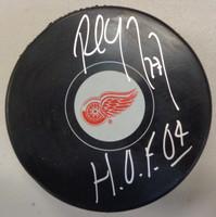 "Paul Coffey Autographed Detroit Red Wings Logo Puck w/""HOF 04"" Inscription"