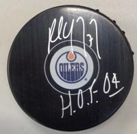 "Paul Coffey Autographed Edmonton Oilers Logo Puck w/""HOF 04"" Inscription"