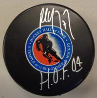 "Paul Coffey Autographed Hockey Hall of Fame Puck w/""HOF 04"" Inscription"