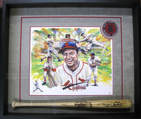 Stan Musial Framed Remarqued Giclee & Autographed Game Model Bat
