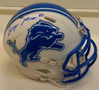 Kerryon Johnson Autographed Detroit Lions Flat White Mini Helmet
