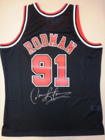 Dennis Rodman Autographed Mitchell & Ness Chicago Bulls Black 1997-98 Jersey