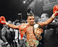 Mike Tyson Autographed 16x20 Photo #2 - 3 Belts Spotlite (Pre-Order)